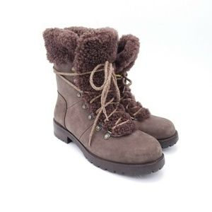 UGG Lace Up Slate Leather Lace up Brown Boot Sz7